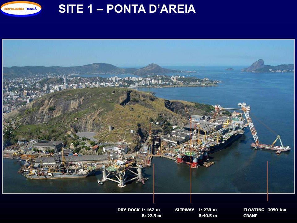 SITE 1 – PONTA DAREIA DRY DOCKL: 167 m B: 22.5 m L: 238 m B:40.5 m SLIPWAYFLOATING CRANE 2050 ton