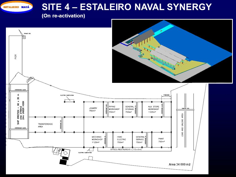 SITE 4 – ESTALEIRO NAVAL SYNERGY (On re-activation) Area 34 000 m2