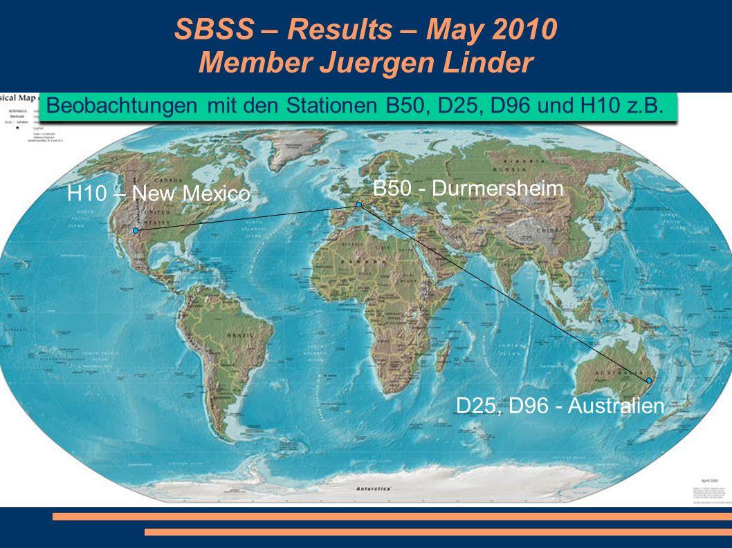 SBSS – Results – May 2010 Member Juergen Linder Beobachtungen mit den Stationen B50, D25, D96 und H10 z.B. B50 - Durmersheim H10 – New Mexico D25, D96