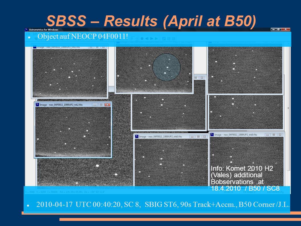 SBSS – Results (April at B50) Object auf NEOCP 04F0011! 2010-04-17 UTC 00:40:20 SC 8, SBIG ST6, 90s Track+Accm., B50 Corner /J.L. Info: Komet 2010 H2