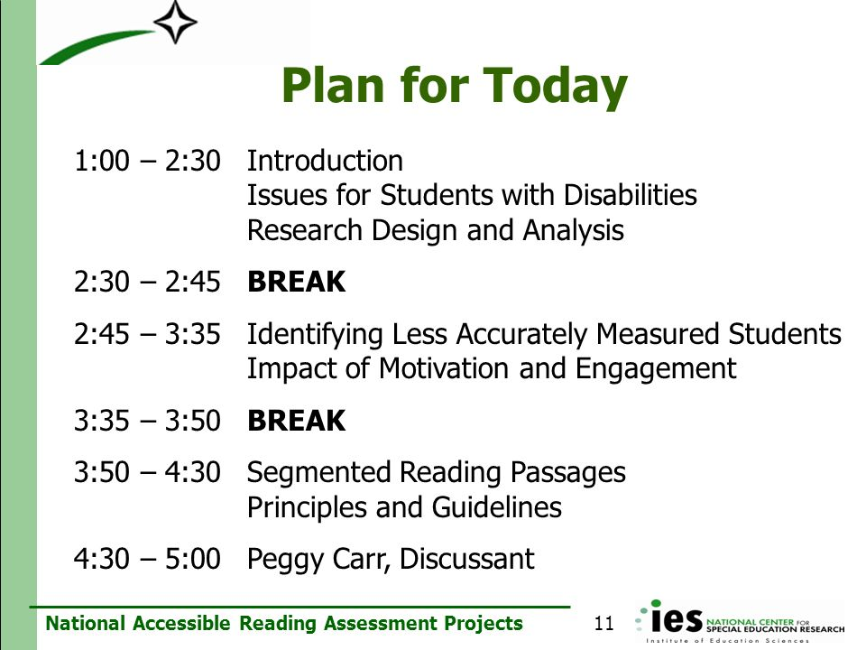National Accessible Reading Assessment Projects Plan for Today 1:00 – 2:30 Introduction Issues for Students with Disabilities Research Design and Anal