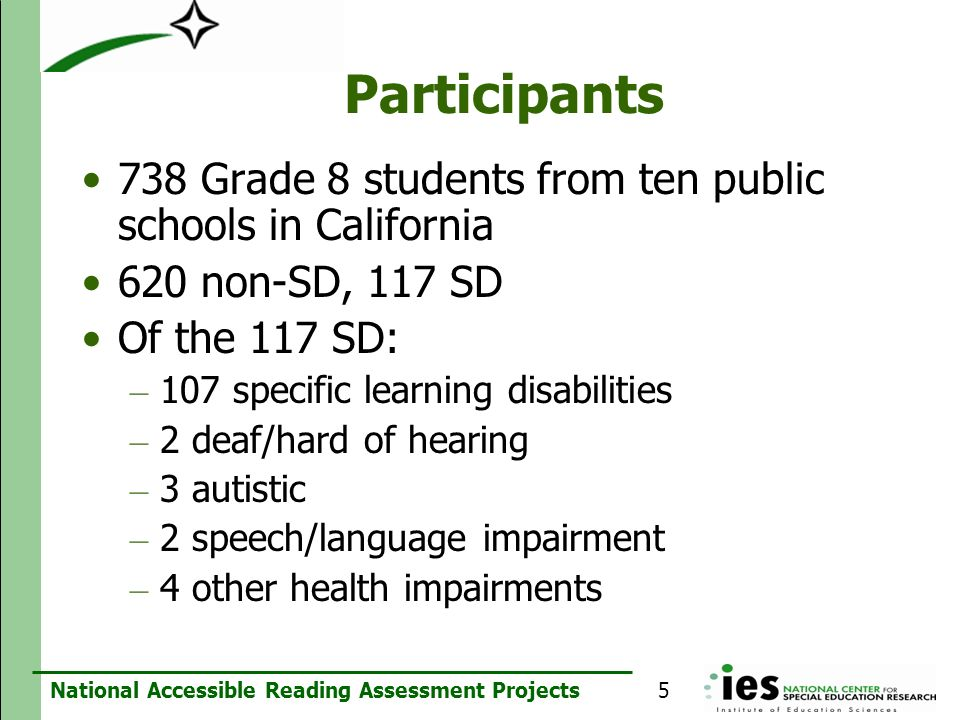 National Accessible Reading Assessment Projects Participants 738 Grade 8 students from ten public schools in California 620 non-SD, 117 SD Of the 117