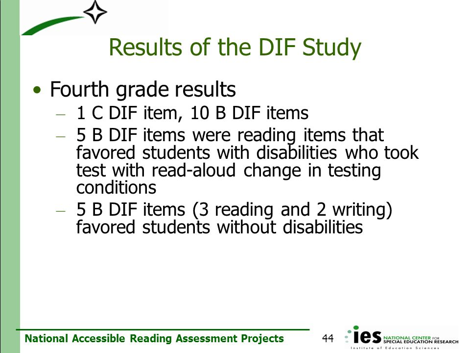 National Accessible Reading Assessment Projects Results of the DIF Study Fourth grade results – 1 C DIF item, 10 B DIF items – 5 B DIF items were read