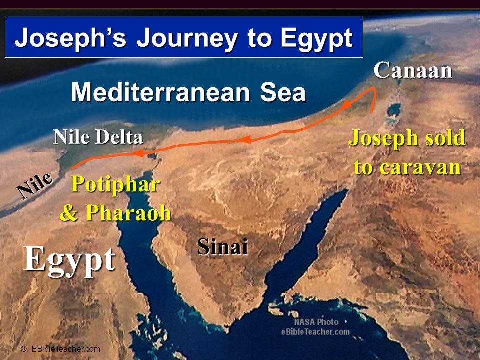 Egypt Nile Nile Delta Mediterranean Sea Sinai Canaan © EBibleTeacher.com Josephs Journey to Egypt Joseph sold to caravan Potiphar & Pharaoh Josephs Jo