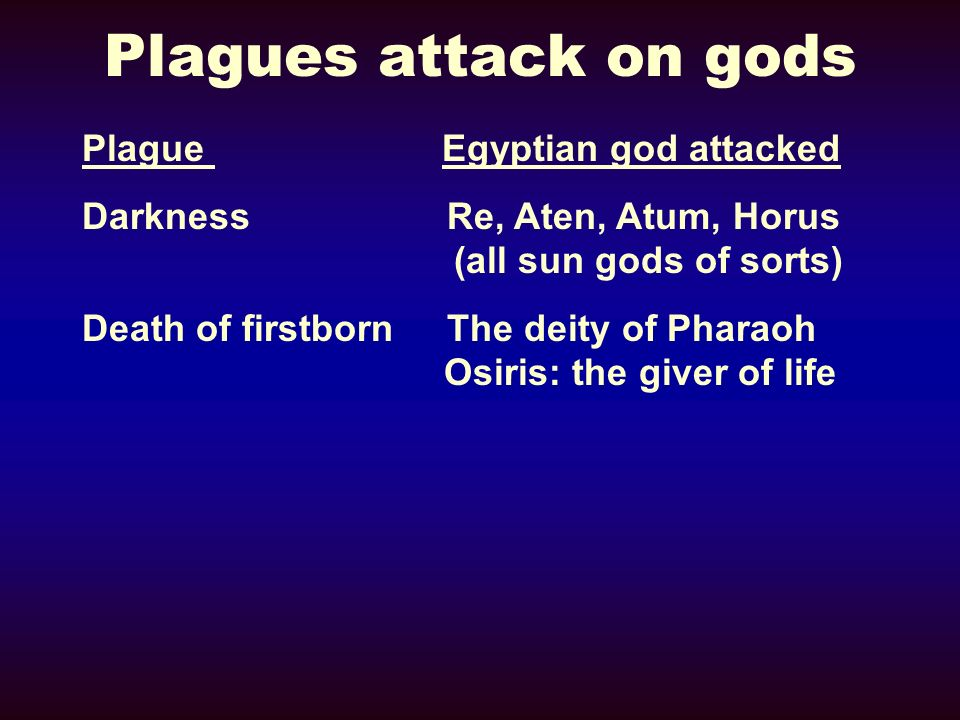 Plagues attack on gods Plague Egyptian god attacked Darkness Re, Aten, Atum, Horus (all sun gods of sorts) Death of firstborn The deity of Pharaoh Osi