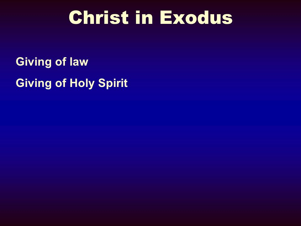 Christ in Exodus Giving of law Giving of Holy Spirit