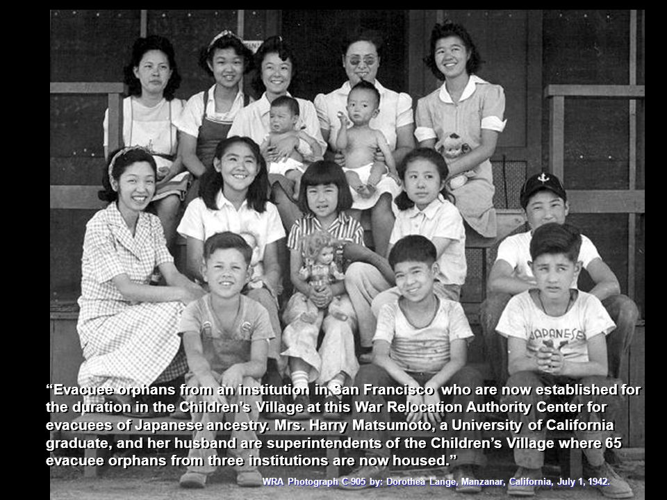 WRA Photograph C-905 by: Dorothea Lange, Manzanar, California, July 1, 1942. Evacuee orphans from an institution in San Francisco who are now establis