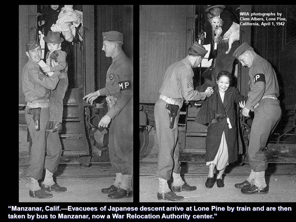 WRA photographs by Clem Albers, Lone Pine, California, April 1, 1942 Manzanar, Calif.Evacuees of Japanese descent arrive at Lone Pine by train and are