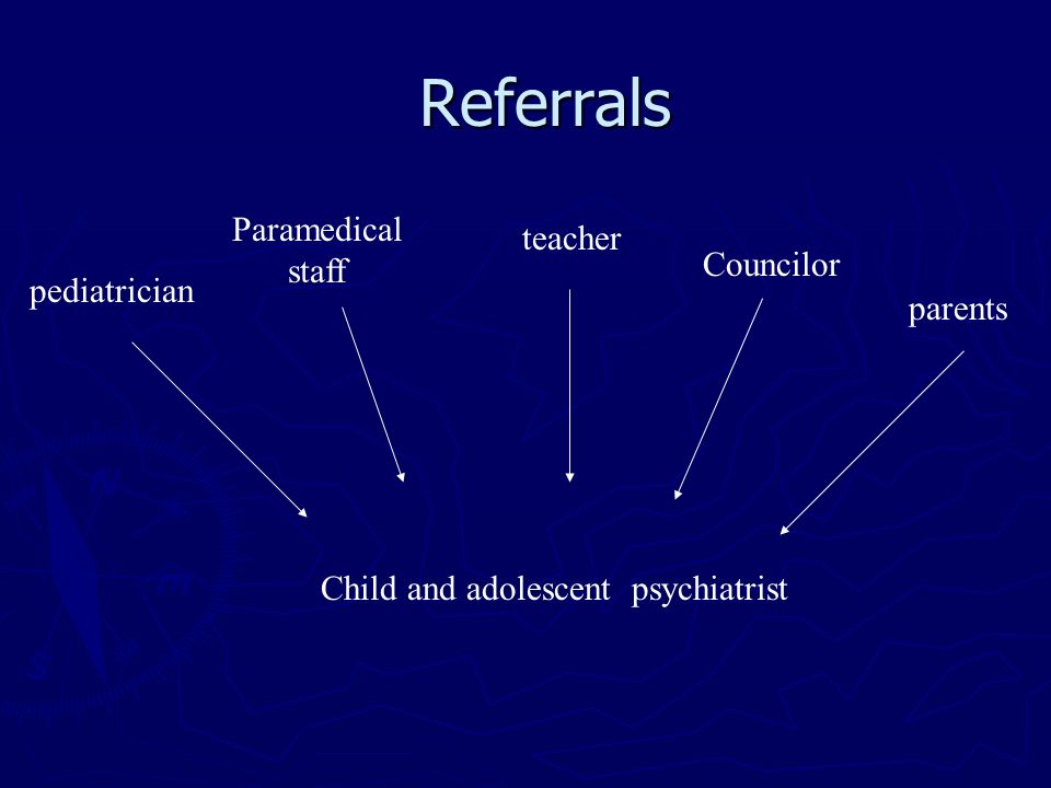 Councilor pediatrician teacher parents Paramedical staff Child and adolescent psychiatrist Referrals
