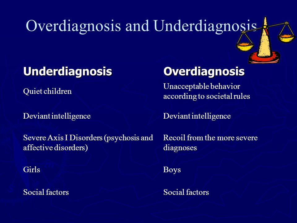 Overdiagnosis and Underdiagnosis Underdiagnosis Overdiagnosis Quiet children Unacceptable behavior according to societal rules Deviant intelligence Se