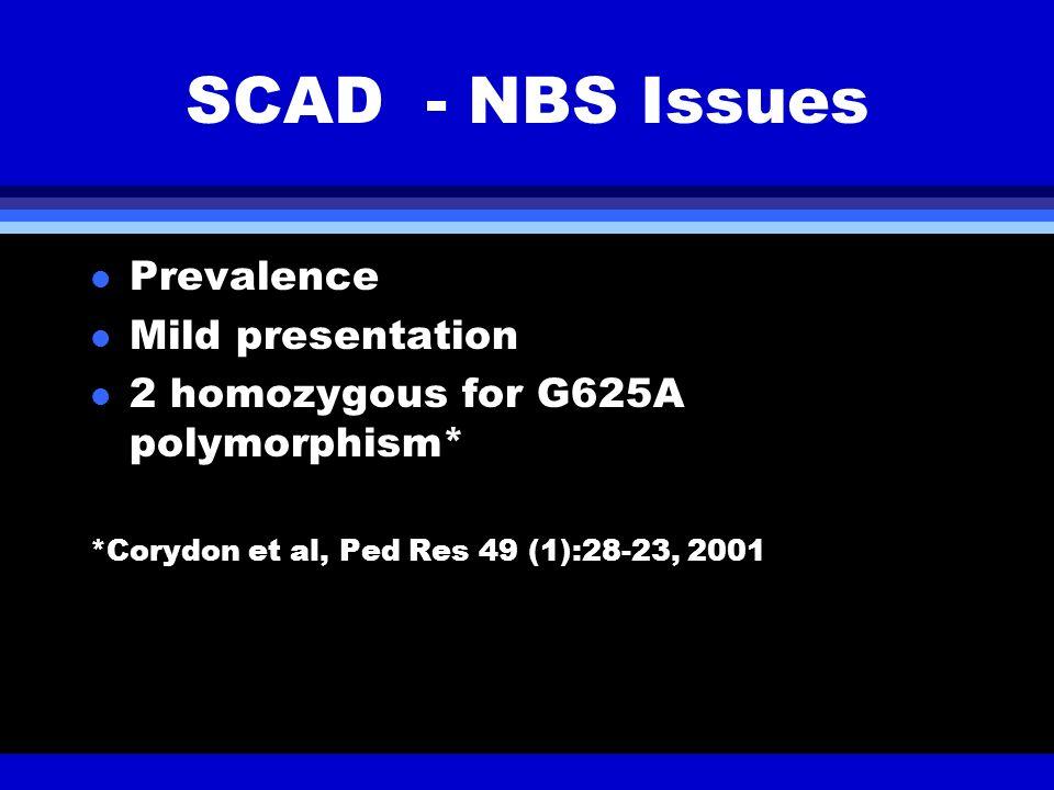 SCAD - NBS Issues l Prevalence l Mild presentation l 2 homozygous for G625A polymorphism* *Corydon et al, Ped Res 49 (1):28-23, 2001