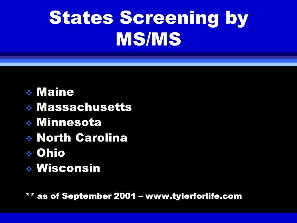 States Screening by MS/MS Maine Massachusetts Minnesota North Carolina Ohio Wisconsin ** as of September 2001 – www.tylerforlife.com