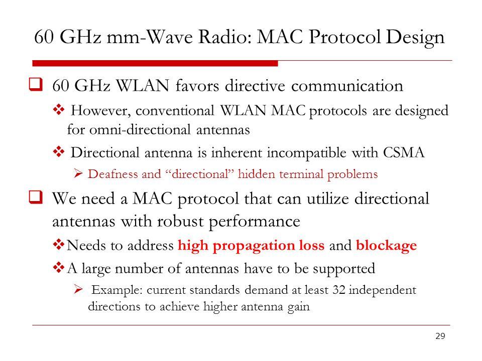 60 GHz mm-Wave Radio: MAC Protocol Design 60 GHz WLAN favors directive communication However, conventional WLAN MAC protocols are designed for omni-di