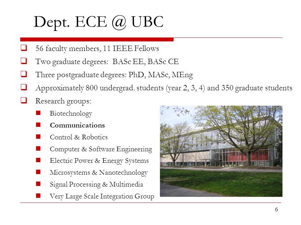 6 Dept. ECE @ UBC 56 faculty members, 11 IEEE Fellows Two graduate degrees: BASc EE, BASc CE Three postgraduate degrees: PhD, MASc, MEng Approximately