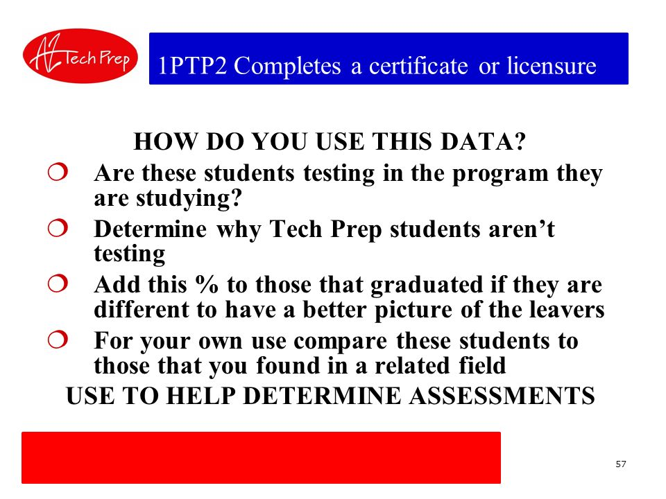 1PTP2 Completes a certificate or licensure HOW DO YOU USE THIS DATA.