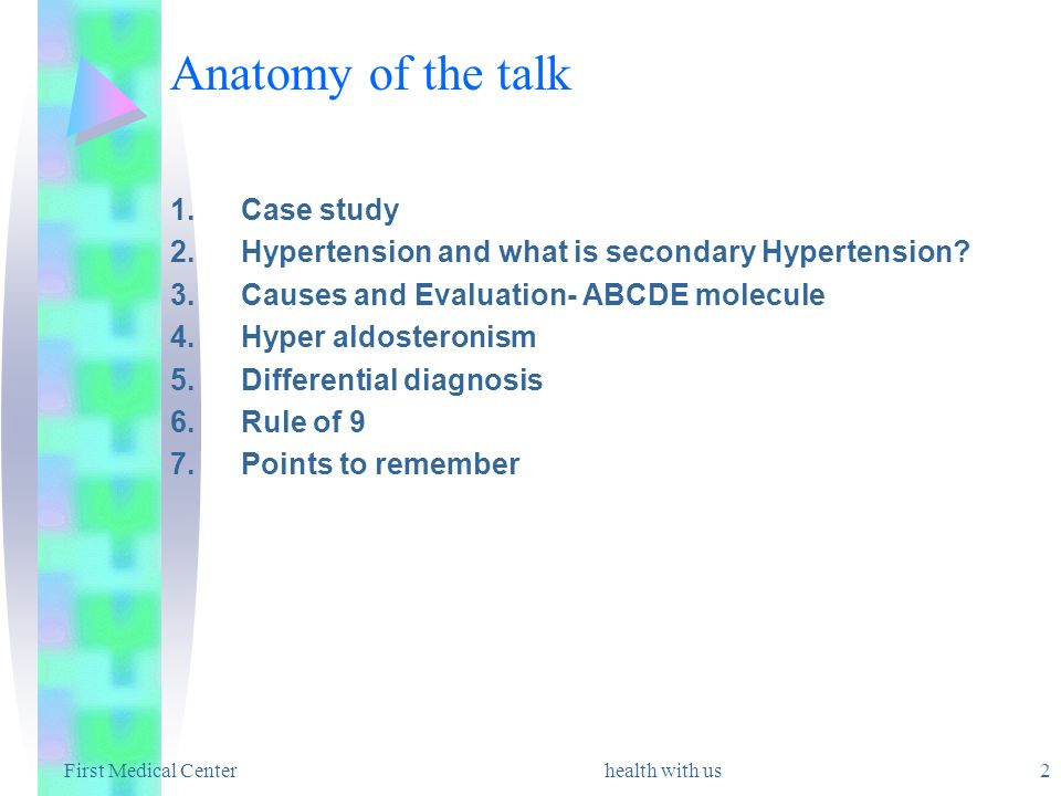 health with us 2 Anatomy of the talk 1.Case study 2.Hypertension and what is secondary Hypertension? 3.Causes and Evaluation- ABCDE molecule 4.Hyper a