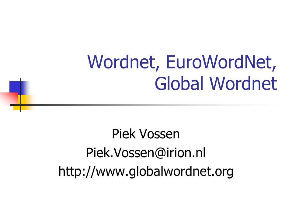 Wordnet, EuroWordNet, Global Wordnet Piek Vossen Piek.Vossen@irion.nl http://www.globalwordnet.org