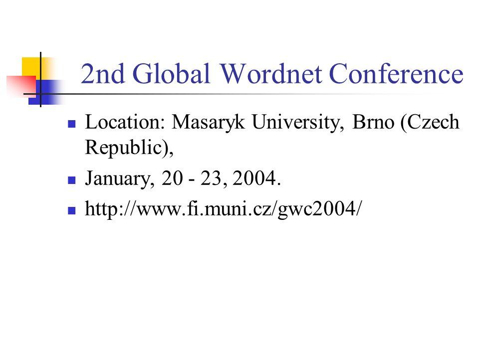 2nd Global Wordnet Conference Location: Masaryk University, Brno (Czech Republic), January, 20 - 23, 2004. http://www.fi.muni.cz/gwc2004/