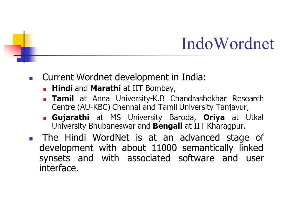 IndoWordnet Current Wordnet development in India: Hindi and Marathi at IIT Bombay, Tamil at Anna University-K.B Chandrashekhar Research Centre (AU-KBC