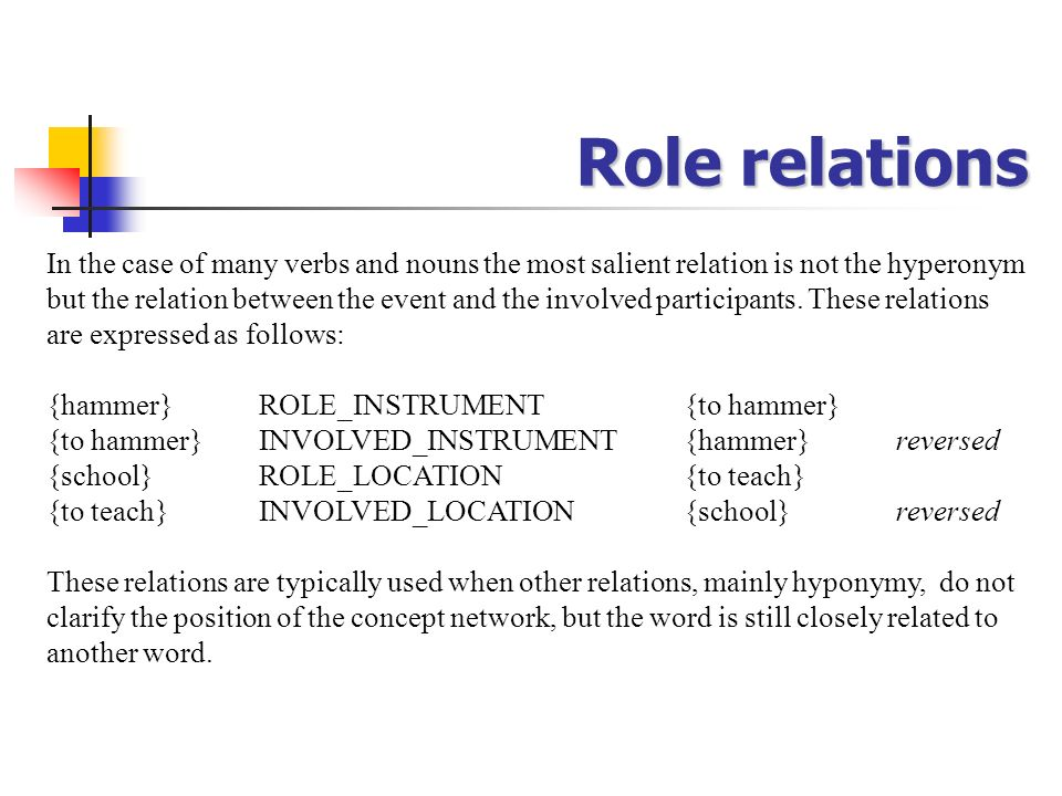 Role relations In the case of many verbs and nouns the most salient relation is not the hyperonym but the relation between the event and the involved
