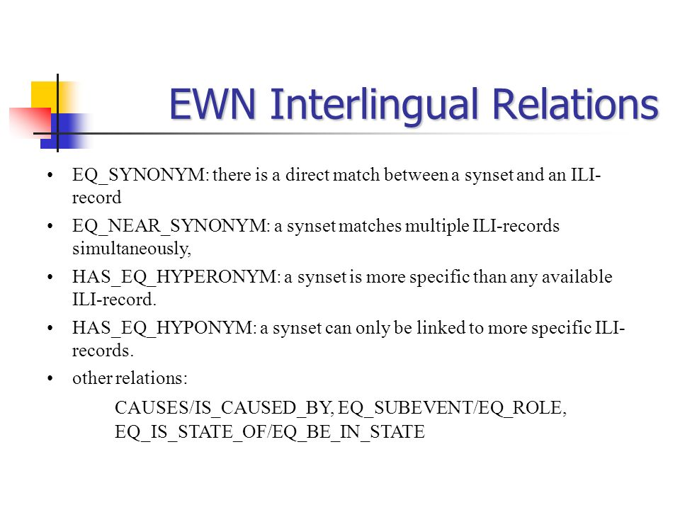 EWN Interlingual Relations EQ_SYNONYM: there is a direct match between a synset and an ILI- record EQ_NEAR_SYNONYM: a synset matches multiple ILI-reco