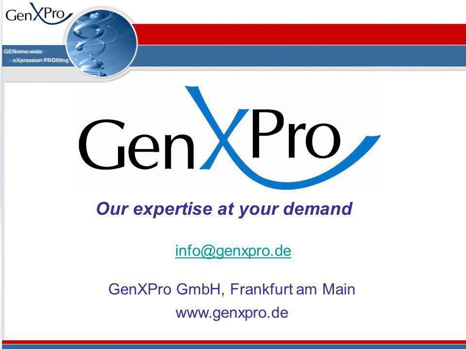 info@genxpro.de GenXPro GmbH, Frankfurt am Main www.genxpro.de Our expertise at your demand