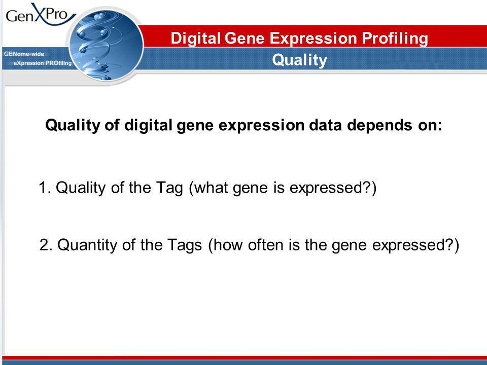 Quality of digital gene expression data depends on: 1. Quality of the Tag (what gene is expressed?) Quality Digital Gene Expression Profiling 2. Quant