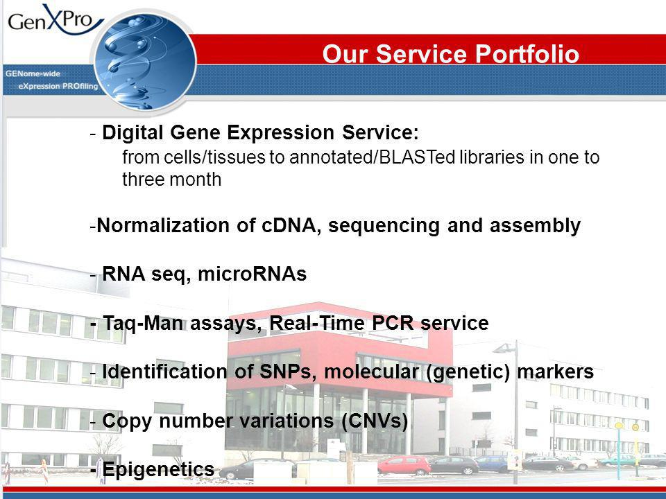 Our Service Portfolio - Digital Gene Expression Service: from cells/tissues to annotated/BLASTed libraries inone to three month -Normalization of cDNA