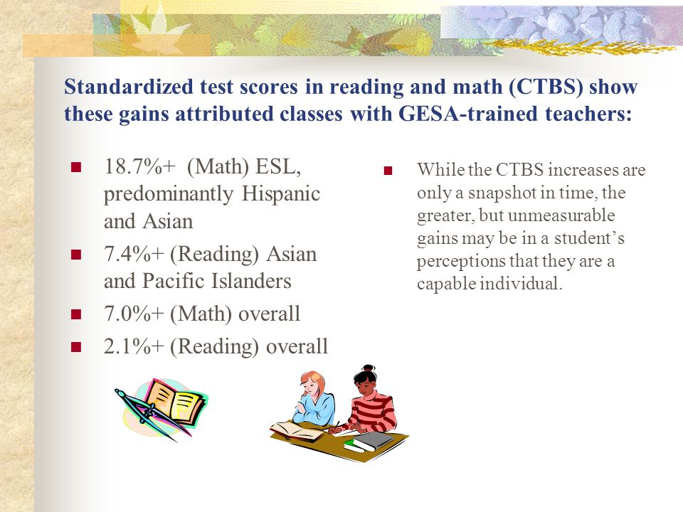 Standardized test scores in reading and math (CTBS) show these gains attributed classes with GESA-trained teachers: 18.7%+ (Math) ESL, predominantly H