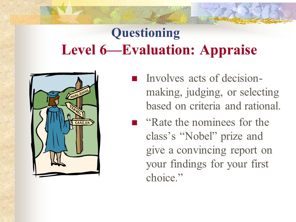 Questioning Level 6Evaluation: Appraise Involves acts of decision- making, judging, or selecting based on criteria and rational. Rate the nominees for