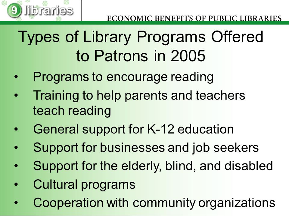 Types of Library Programs Offered to Patrons in 2005 Programs to encourage reading Training to help parents and teachers teach reading General support for K-12 education Support for businesses and job seekers Support for the elderly, blind, and disabled Cultural programs Cooperation with community organizations