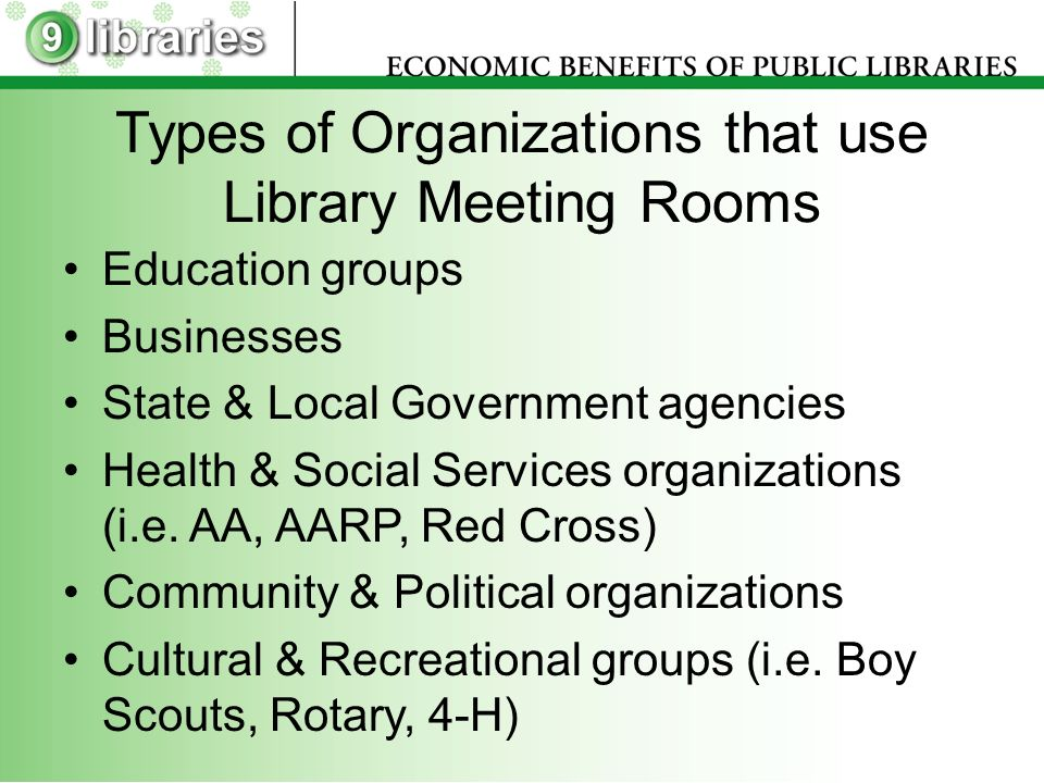 Types of Organizations that use Library Meeting Rooms Education groups Businesses State & Local Government agencies Health & Social Services organizations (i.e.