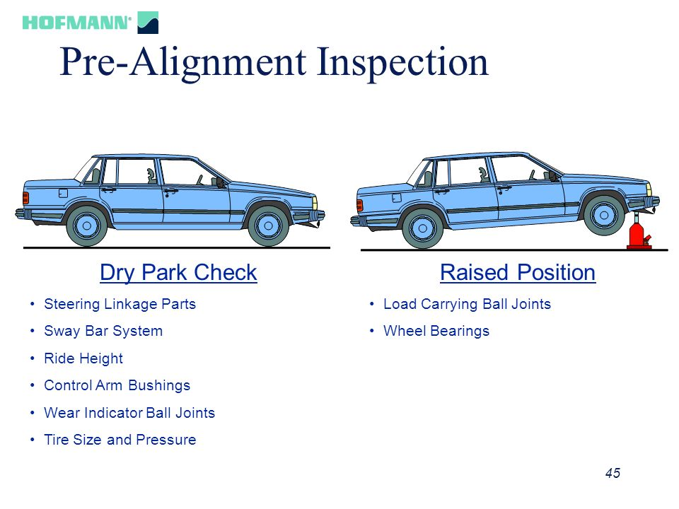 45 Pre-Alignment Inspection Dry Park Check Steering Linkage Parts Sway Bar System Ride Height Control Arm Bushings Wear Indicator Ball Joints Tire Siz