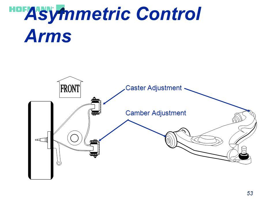54 Caster Definition ä Rearward Tilt = Positive ä Forward Tilt = Negative Steering Pivot Centerline Vertical