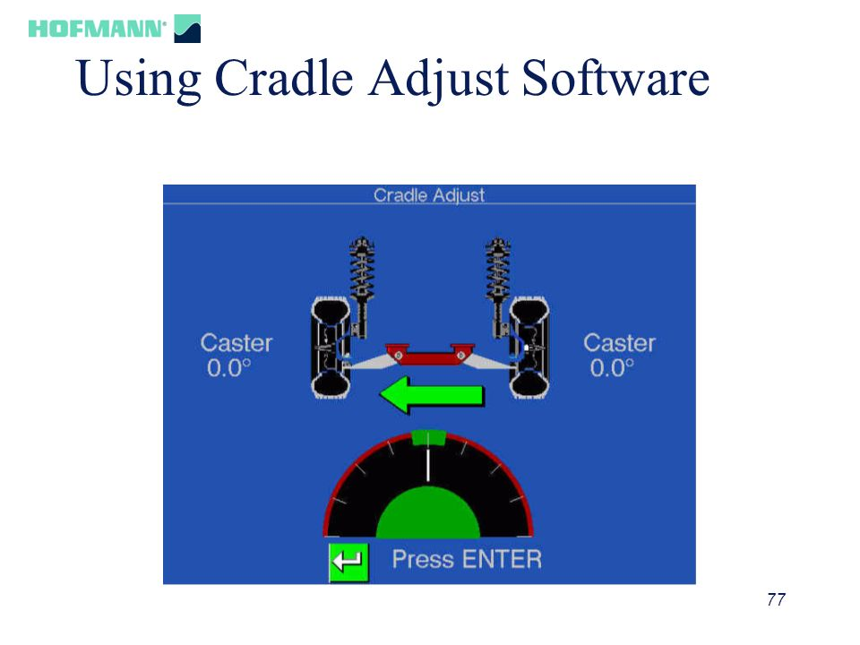 77 Using Cradle Adjust Software