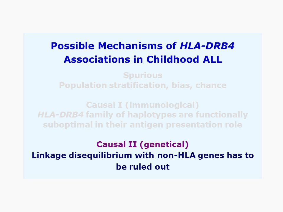 Possible Mechanisms of HLA-DRB4 Associations in Childhood ALL Spurious Population stratification, bias, chance Causal I (immunological) HLA-DRB4 famil