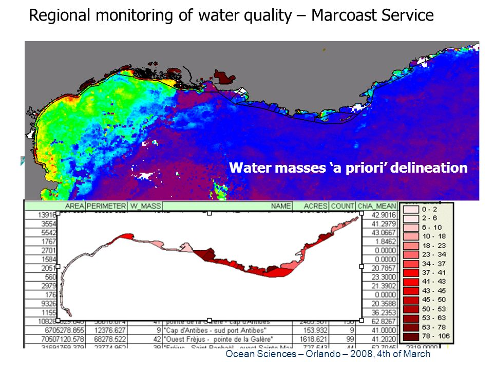 Ocean Sciences – Orlando – 2008, 4th of March Regional monitoring of water quality – Marcoast Service Water masses a priori delineation