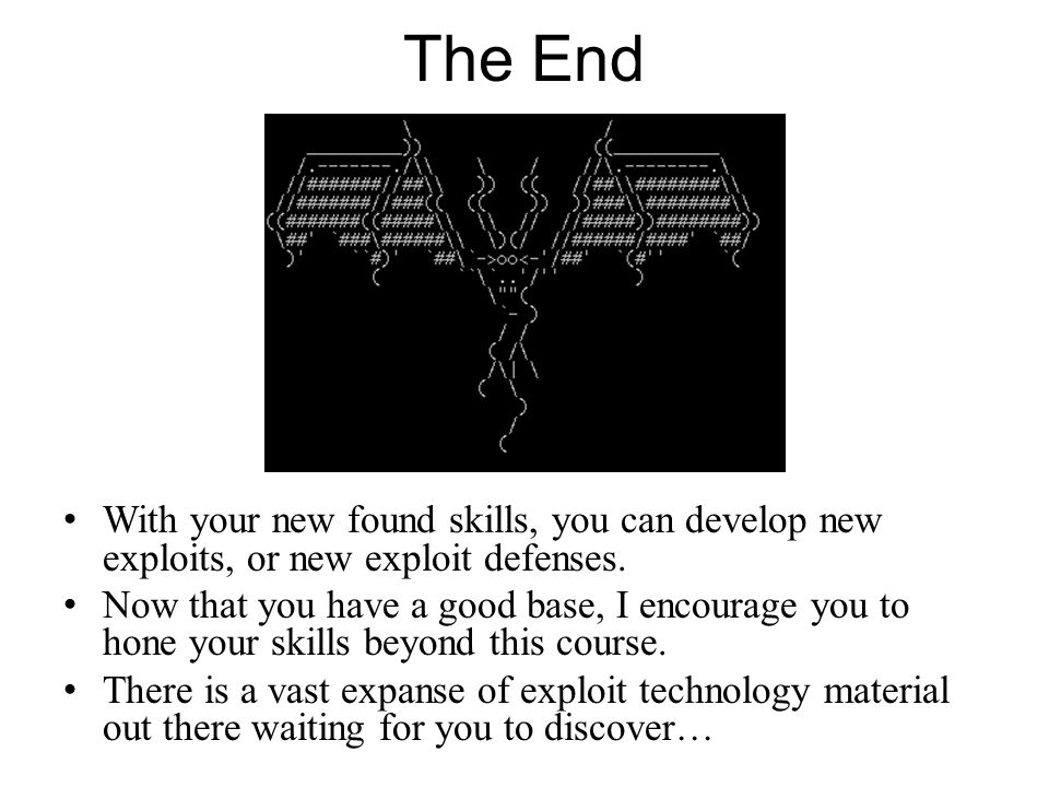 The End With your new found skills, you can develop new exploits, or new exploit defenses. Now that you have a good base, I encourage you to hone your