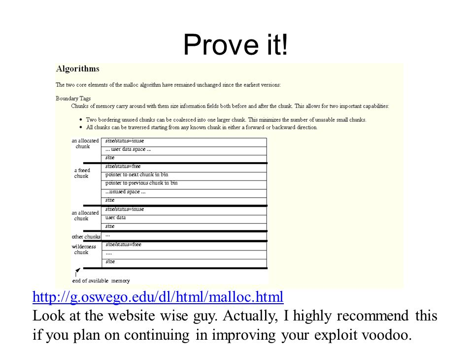 Prove it! http://g.oswego.edu/dl/html/malloc.html Look at the website wise guy. Actually, I highly recommend this if you plan on continuing in improvi