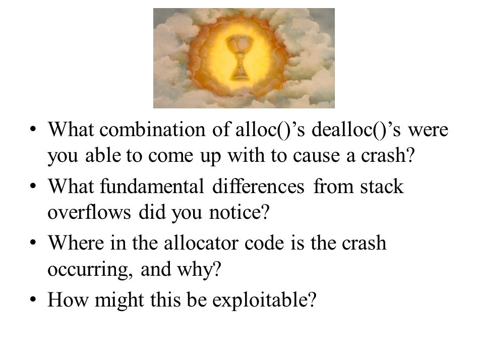What combination of alloc()s dealloc()s were you able to come up with to cause a crash? What fundamental differences from stack overflows did you noti