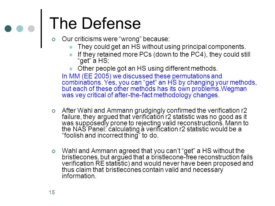 15 The Defense Our criticisms were wrong because: They could get an HS without using principal components. If they retained more PCs (down to the PC4)