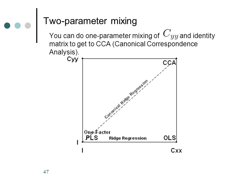 47 Two-parameter mixing You can do one-parameter mixing of and identity matrix to get to CCA (Canonical Correspondence Analysis).