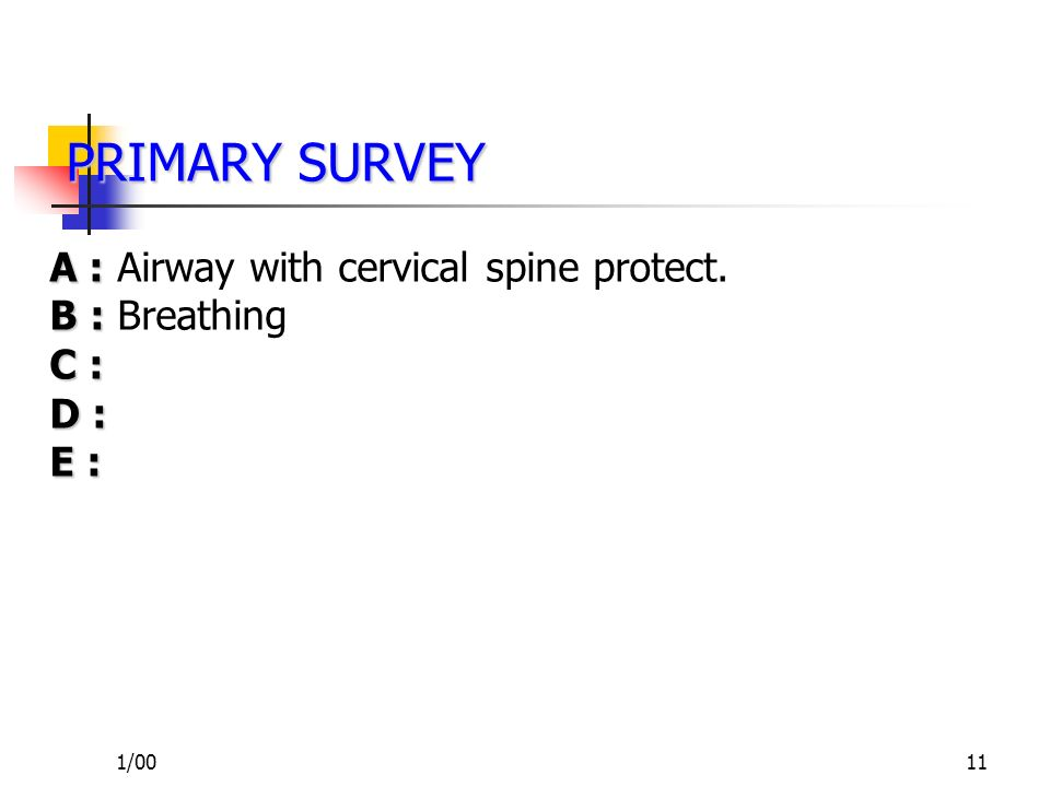 1/0010 PRIMARY SURVEY PRIMARY SURVEY A : A : Airway with cervical spine protect. B : C : D : E :