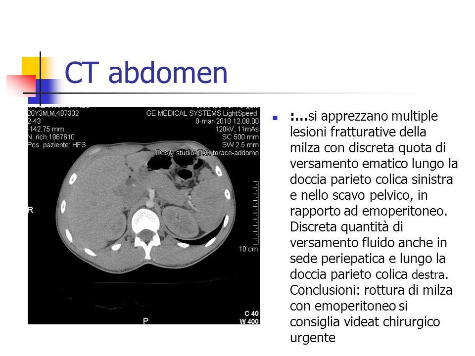 CT abdomen :…si apprezzano multiple lesioni fratturative della milza con discreta quota di versamento ematico lungo la doccia parieto colica sinistra