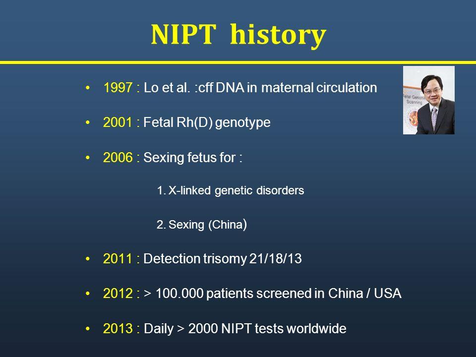 NIPT history 1997 : Lo et al. :cff DNA in maternal circulation 2001 : Fetal Rh(D) genotype 2006 : Sexing fetus for : 1.X-linked genetic disorders 2.Se