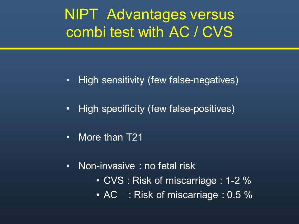 NIPT Advantages versus combi test with AC / CVS High sensitivity (few false-negatives) High specificity (few false-positives) More than T21 Non-invasi