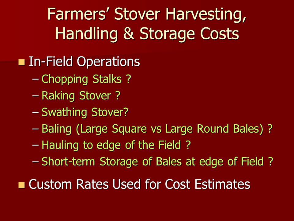 Farmers Stover Harvesting, Handling & Storage Costs In-Field Operations In-Field Operations –Chopping Stalks .