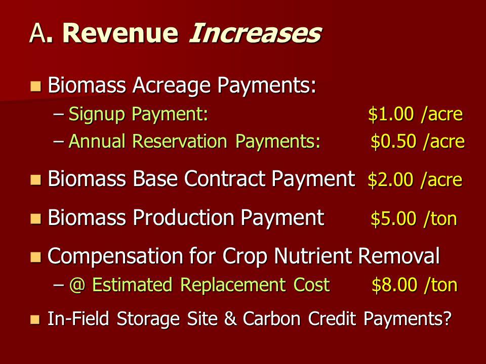 A. Revenue Increases Biomass Acreage Payments: Biomass Acreage Payments: –Signup Payment: $1.00 /acre –Annual Reservation Payments: $0.50 /acre Biomas