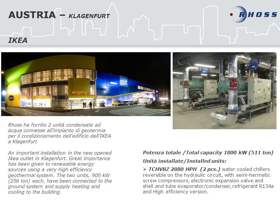 AUSTRIA – KLAGENFURT Rhoss ha fornito 2 unità condensate ad acqua connesse allimpianto di geotermia per il condizionamento delledificio dellIKEA a Klagenfurt An important installation in the new opened Ikea outlet in Klagenfurt.